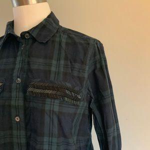 J.Crew Plaid Sequin Detailed Shirt